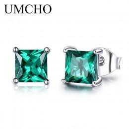 UMCHO 100% 925 Sterling Silver Emerald stadniny kolczyki dla kobiet Princess-cut kamień Birthstone moda koreańskie kolczyki biżu