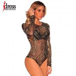 IDress Sexy Body kobiety kombinezony z długim rękawem cekinami Body złoty cekiny trykot Body haft pajacyki kobiety kombinezon