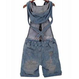 Hole denimowe fartuchy damskie Jean kombinezony krótkie spodnie sprane dżinsy Denim Casual pajacyki 4 rozmiary