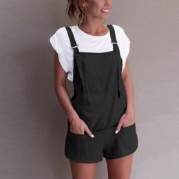 Kobiety elastyczny pas ogrodniczki pościel bawełniana, z kieszeniami pajacyki Playsuit szorty z szelkami spodnie 1