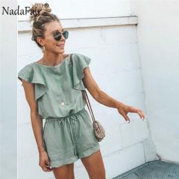 Nadafair Playsuits kobiety lato elegancki kombinezon krótka bawełniana pościel w stylu Casual, z falbanami w pasie seksowne ramp