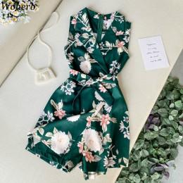 Woherb kobiety plaża Floral Print pajacyki kobiet 2020 lato krótki kombinezon ogrodniczki bez rękawów elegancka praca w biurze P