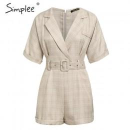 Simplee klasyczny plaid szarfa pasek kobiety playsuit Casual v-neck przyciski streetwear kobieta playsuits biurowa, damska krótk
