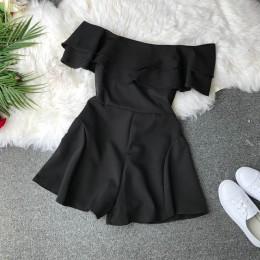 Cukierki kolor elegancki kombinezon kobiety lato 2019 najnowsze Style podwójne falbany głęboki dekolt pajacyki kombinezon damski