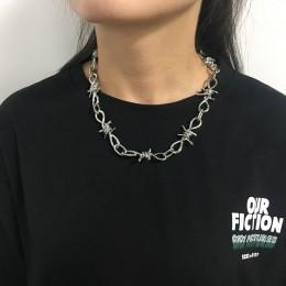 Drut Brambles naszyjnik kobiety Hip-hop Punk Style drut kolczasty Brambles Link Choker łańcuszek prezenty dla przyjaciół Collare