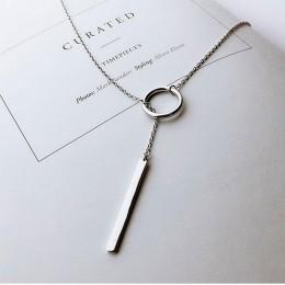 Anenjery 925 srebro biżuteria koło pasek długi naszyjnik z łańcuszkiem collares kolye bijoux femme Choker naszyjnik S-N51