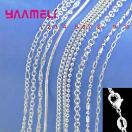 Duża promocja! 100% autentyczne 925 Sterling Silver naszyjnik łańcuch z zapięciem Lobster fit mężczyźni kobiety wisiorek 10 wzor