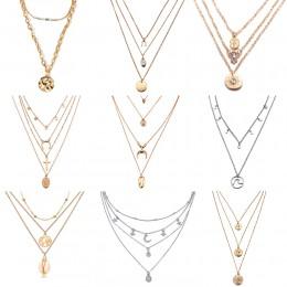17KM wielowarstwowy kryształ księżyc naszyjniki dla kobiet w stylu Vintage urok złoty naszyjnik typu choker naszyjnik 2020 czesk