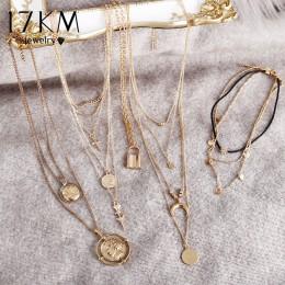 17KM Vintage Gold okrągłe naszyjniki monety naszyjniki dla kobiet dziewczyna długi wisiorek w kształcie monety i naszyjnik 2019