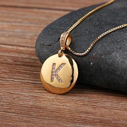 Najwyższa jakość kobiety dziewczęta początkowy naszyjnik listowy złoty 26 liter Charm naszyjniki wisiorki miedź CZ biżuteria spe