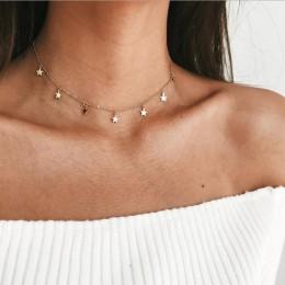 Złoty kolor wisiorek w kształcie gwiazdy naszyjnik Choker Chain naszyjniki dla kobiet Kolye Bijoux Collares Mujer Collier Femme