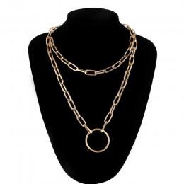 Dwuwarstwowa blokada łańcuszka naszyjnik grunge punk 90s link Chain srebrny kolor kłódka naszyjnik kobiety estetyczna biżuteria