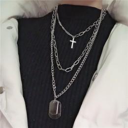 KMVEXO wielowarstwowe łańcuchy Punk krzyż naszyjnik para moda ulica Hip Hop geometryczny wisiorek metalowy naszyjniki dla kobiet