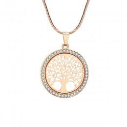 Gorące drzewo życia kryształowy okrągły mały naszyjnik złoto srebro kolory Bijoux Collier eleganckie kobiety biżuteria prezenty