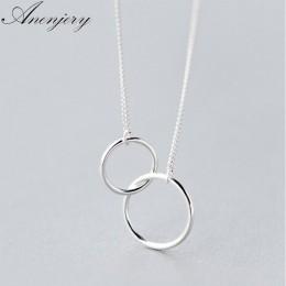 Anenjery dwa kółka blokada obojczyk krótki naszyjnik 925 srebro naszyjnik dla kobiet collares erkek kolye S-N191