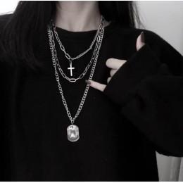 HUANZHI 2019 nowa osobowość krzyż kwadratowy Metal wielowarstwowe Hip hop długi łańcuch fajne prosty naszyjnik dla kobiet mężczy