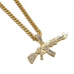 Moda Punk hip-hop kobiety mężczyźni pistolet kształt wisiorek łańcuszek z kryształami górskimi naszyjnik kreatywne naszyjniki bi