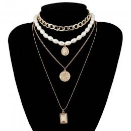 IngeSight.Z Punk wielowarstwowy Pearl Choker naszyjnik Choker komunikat maryi panny monety kryształowy naszyjnik kobiety biżuter