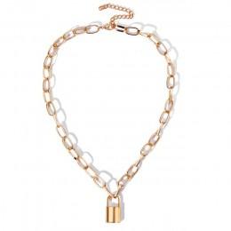 Rock Choker Lock naszyjnik warstwowy łańcuszek na szyi z zamkiem biżuteria punkowa Mujer klucz kłódka naszyjnik dla kobiet preze