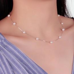 Anenjery 925 Sterling Silver biżuteria 12 sztuk 6mm Pearl Box Choker łańcuszek naszyjnik kolye collares bijoux femme S-N54