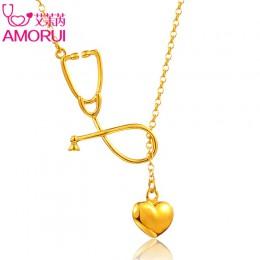 AMORUI stetoskop kobiety serce naszyjnik kobiety modny naszyjnik medyczny różowe złoto kolor srebrny kobieta modny łańcuszek