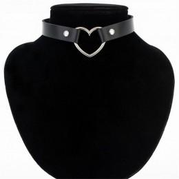 Meajoe Trendy Sexy skóra punk gotyk serce nabijane Choker naszyjnik w stylu Vintage urok okrągły kołnierz naszyjniki damska biżu