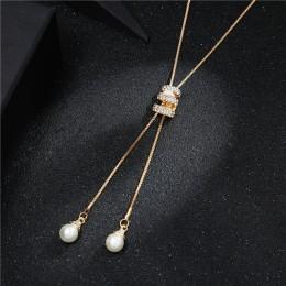 2020 nowy wysokiej jakości moda Metal długi Tassel Rhinestone Crystal Pearl długi naszyjnik z łańcuszkiem sweter Patry naszyjnik