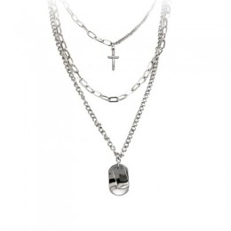 AOMU Girl Gift metal srebrny wisiorki krzyżowe naszyjnik dla kobiet mężczyzn biżuteria dla zakochanych geometryczny prostokąt ła