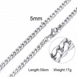 Srebrny złoty kolor solidny naszyjnik krawężniki łańcuchy Link mężczyźni Choker ze stali nierdzewnej męskie kobiece akcesoria mo