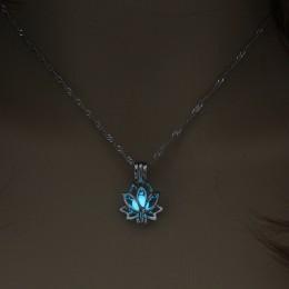 Luminous świecące w ciemności księżyc w kształcie kwiatu lotosu naszyjnik dla kobiet joga modlitwa buddyzm biżuteria