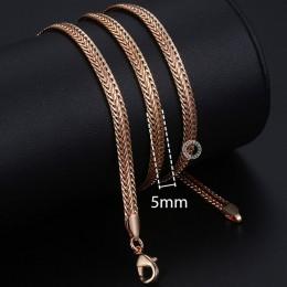 Personalizuj naszyjnik dla kobiet mężczyzn 585 różowe złoto Venitian Curb ślimak Foxtail Link naszyjnik łańcuszkowy biżuteria 50