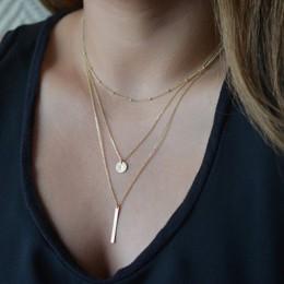 Wielowarstwowe naszyjniki dla kobiet złoty kolor srebrny długi łańcuszek wisiorek damski naszyjnik moda biżuteria Collier Femme