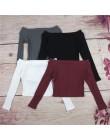 Simenual jesień Off Shoulder krótki Top t-shirty gorąca sprzedaż z długim rękawem jednolita, krótka koszulka dla kobiet odzież m