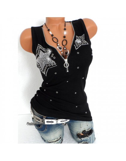 Elastyczna 5 gwiazdek frezowanie Tee bawełniana koszulka damska letnie koszulki seksowny zamek V Neck Top bez rękawów czarne z p