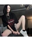 Goth Dark Grunge Punk Gothic t-shirty luźna odzież uliczna Harajuku list drukuj lato 2019 moda koszulka damska Casual estetyczne