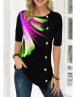 3D nadruk piór t-shirty damskie z krótkim rękawem nowa letnia koszula Tees duże rozmiary 5XL top damski guziki z krótkim rękawem