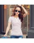 2019 letni Top koszule V-neck T Shirt kobiety z krótkim rękawem Casual koszulki biały pasek T-Shirt Plus rozmiar bawełniana kosz
