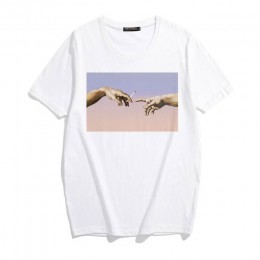 Michelangelo Cappella Sistina Harajuku Ulzzang Tumblr koszulka damska nowy letni zabawny nadruk hiphopowy sweter swobodny szyk t