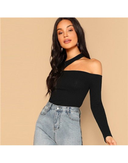 SHEIN asymetryczna koszulka z wycięciem pod szyją 2019 damska elegancka wiosenna koszulka z długim rękawem Slim Fit koszulka imp