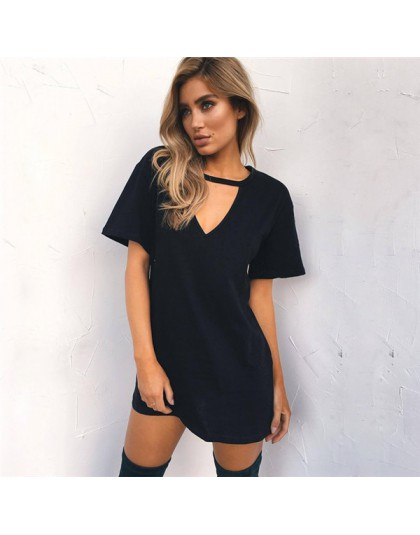 Damska letnia koszulka 2020 dorywczo luźna krótka koszulka z krótkim rękawem seksowna koszulka z dekoltem w serek Femme czysta d