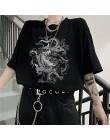 Koreański zabawa dropshipping Ulzzang śliczny smok punk gotyckie ubrania top z krótkim rękawem hip-hopowy nadruk w stylu vintage