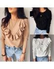 Moda solidna z falbanką O-Neck z długim rękawem T-Shirt dla kobiet jesień 2019 Casual Loose Splice nowe koszulki bawełniane najl