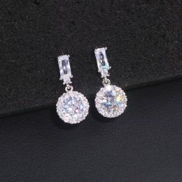 Klasyczna luksusowa okrągła cyrkonia sześcienna kolczyki dla kobiet panna młoda kolor srebrny iskrzenie wiszące kolczyki z krysz