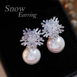 Kolczyki z pereł kobieta moda kolczyki z kryształem śniegu urok Rhinestone inkrustowane biżuteria śliczne kolczyki prezenty dla
