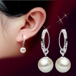 2019 solidna 925 Sterling Silver eleganckie piękno okrągły biały perła kolczyk na wtyk kolczyki kobiety biżuteria zaręczynowa Br