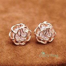 Nowe słodkie małe drążą kolczyki sztyfty z kwiatem moda CZ kryształowe kolczyki dla kobiet Gil's różowe złoto kolor biżuteria Bi