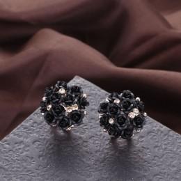 2018 modne niebieskie czarne okrągłe bukiet róża kryształowa złoty ślub kwiat z kryształkiem kolczyki dla kobiet zestaw kolczykó