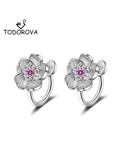 Todorova Korea Style Crystal Cherry kwiat nausznice bez przekłuwania dla dziewczyn Party Sweet bez otworu klips do ucha