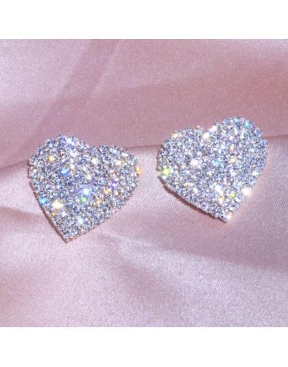 2019 nowy projekt luksusowy kryształ serce stadniny kolczyki kolor srebrny duże miłosne kolczyki dla kobiety romantyczny ślub bi