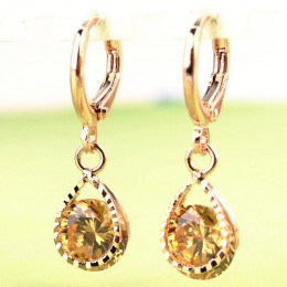 Modna kropla wody CZ kryształowe kolczyki dla kobiet w stylu vintage róża złoty kolor Wedding Party kolczyki biżuteria brinco fe